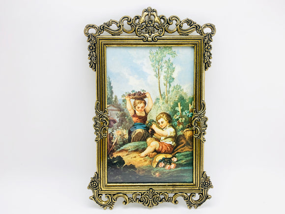 1960's Italian Ornate Metal Framed Print of 2 Children Eating Grapes