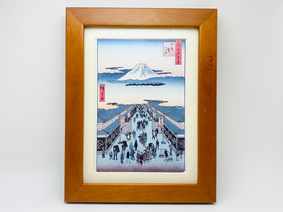 Vintage Japanese Woodblock Hiroshige, 100 Famous Views of Edo, Suruga District