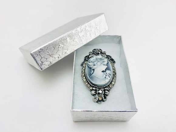 Victorian Style Cameo Black and White Brooch With Rhinestones