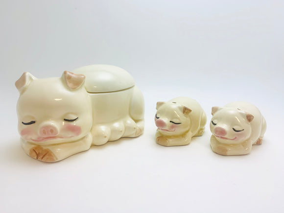 Vintage Pig Sugar Bowl With Salt and Pepper Shaker Piglets