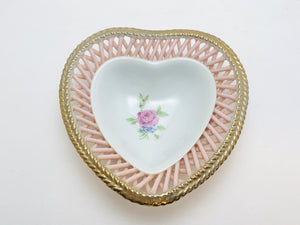 Vintage Floral Heart Ring Dish