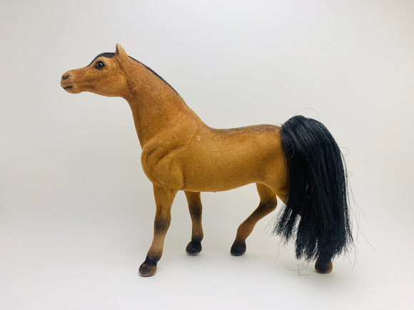 1970's Vintage Toy Brown Flocked Horse