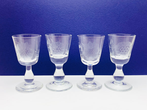4 Hughes Cornflower 1 oz Liqueur Tiffin Glass Line 73