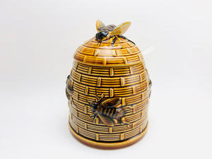 1970's Porcelain Honey Bee Honey Jar with Spoon