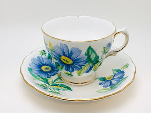 Vintage Royal Vale Blue Daisy Tea Cup and Saucer