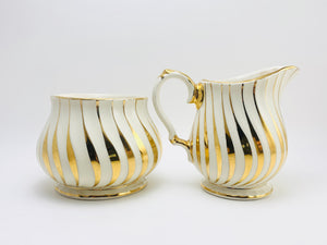 1940's Sadler England White & Gold Sugar and Creamer Set Numbered 2737