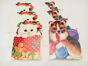 SOLD! 6 New Vintage Hallmark Kitten and Puppy Christmas Cards with Envelopes