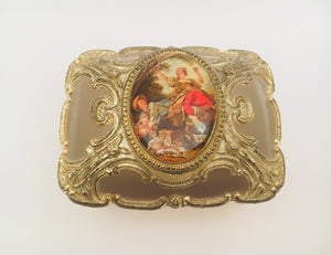 Vintage metal jewelry box Victorian era painting, made in Japan, with floral pattern