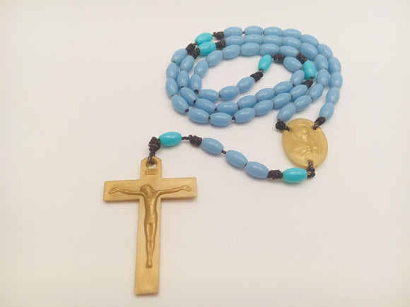 Vintage Plastic Blue, Teal and Gold coloured Rosary