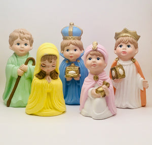 SOLD! Arnel's Ceramic Hand painted Childrens Nativity Set from 1975