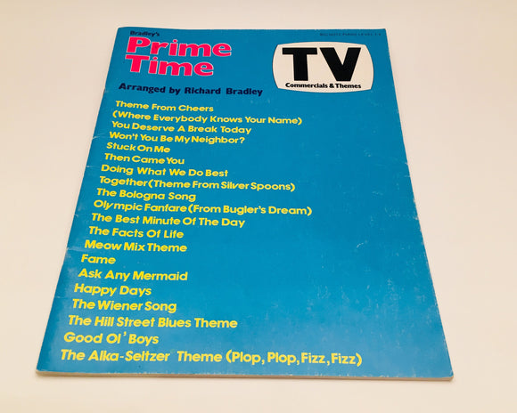 Bradley's Prime Time TV Commercials & Themes Big Note Piano Music Book