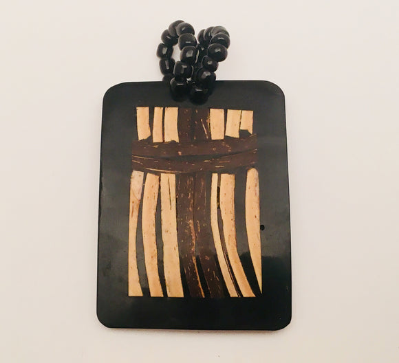 Wood Inlay Cross Pendant