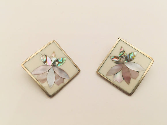 Alpaca Silver Mexico Abalone inlay flower clip on Earrings