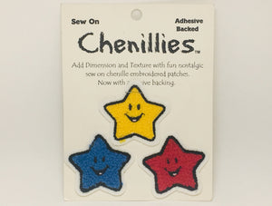SOLD! Sew On Chenillies, 3 Smiley Stars