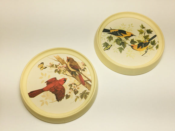 2 Handcrafted Bird Coasters or Wall Hangers