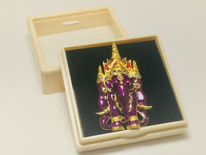 Purple Enamel and Rhinestone Elephant Brooch