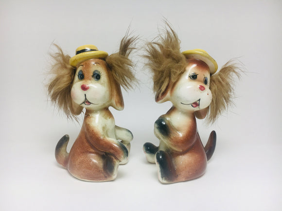 1959 Bradley Japan Porcelain Fuzzy Hair Dogs