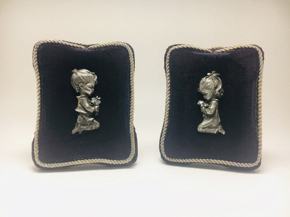 1940's Peltro Cesellato A Mano Pewter Praying children plaques