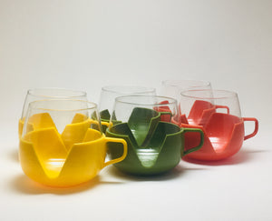 Vintage Set Of 6 Dutch Coffee Cups, Glass And Plastic, Made In Holland