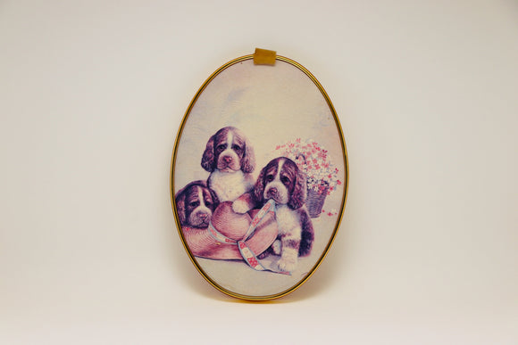 1960's Ecstasy Giftware Puppies on an Oval Wall Hanging