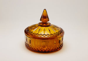 SOLD! 1970's Indiana Glass Amber Princess Candy Bowl with Lid