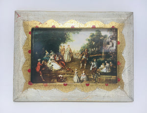 "SOLD! 1960's Florentine wood frame with Nicolas Lancret's masterpiece painting ""Landscape"""