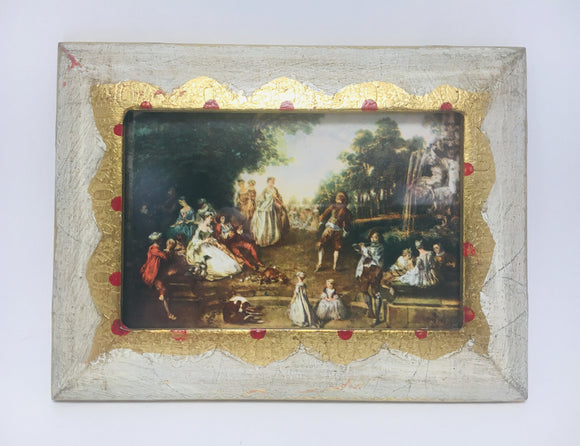"1960's Florentine wood frame with Nicolas Lancret's masterpiece painting ""Landscape"""