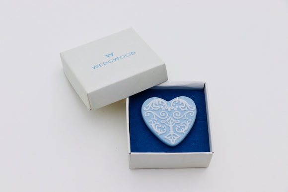 1970's Wedgwood Jasperware Blue Heart Brooch