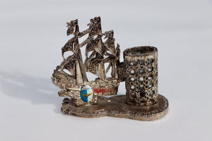 1930's Portugal Souvenir Silver Plated Acores Ship Lighter Holder
