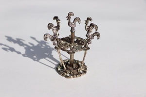 1930's Silver Plated Barcelos Cockerel Party Picks