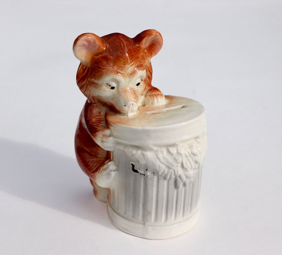 1960's Porcelain Bear with Trash Can Money Bank