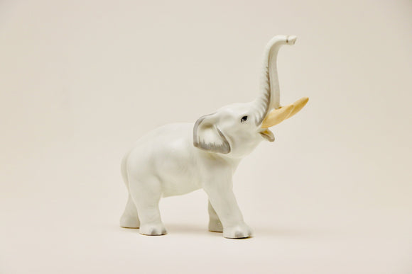 SOLD! Bohemia White Porcelain Elephant Made in Czechoslovakia