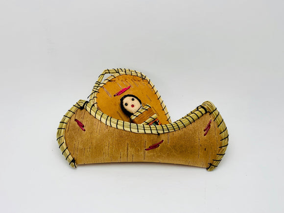 SOLD! Handmade Birch Bark Canoe and Papoose