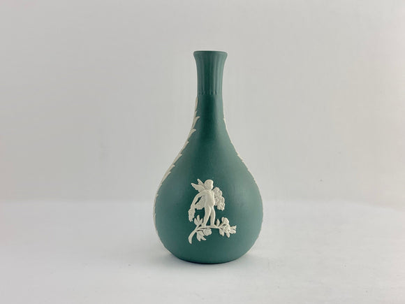 SOLD! 1979-84 Wedgwood Green Jasperware Cupid Bud Vase