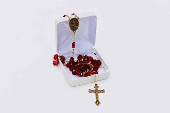 1980's Bronze and Red Beaded Rosary
