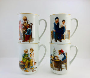 SOLD! 1982 Norman Rockwell Museum Mugs Set of 4 New in Box