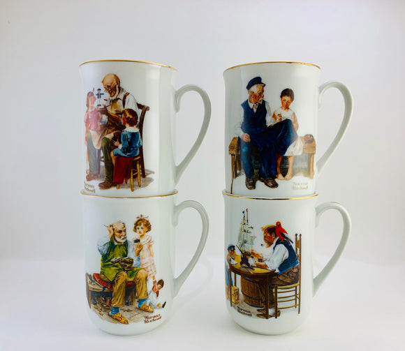 1982 Norman Rockwell Museum Mugs Set of 4 New in Box