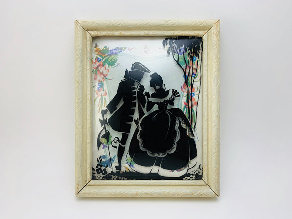 1940's Curved Glass Silhouette Small Framed Picture