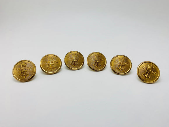 1940-50's 6 Canadian Navy Brass Buttons
