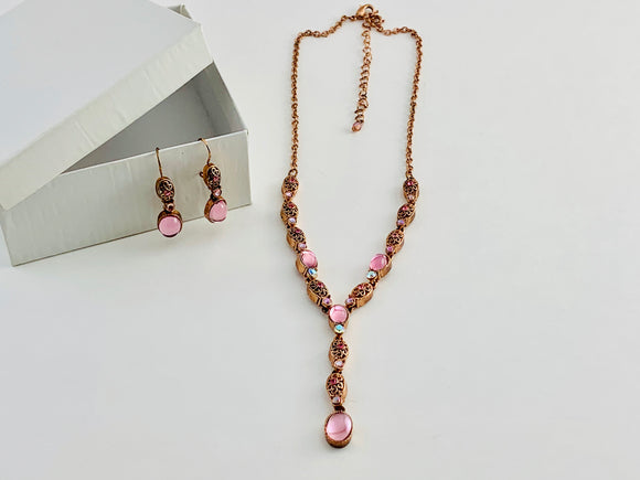 "Vintage Avon Coppertone ""Y"" Necklace and Earrings set"