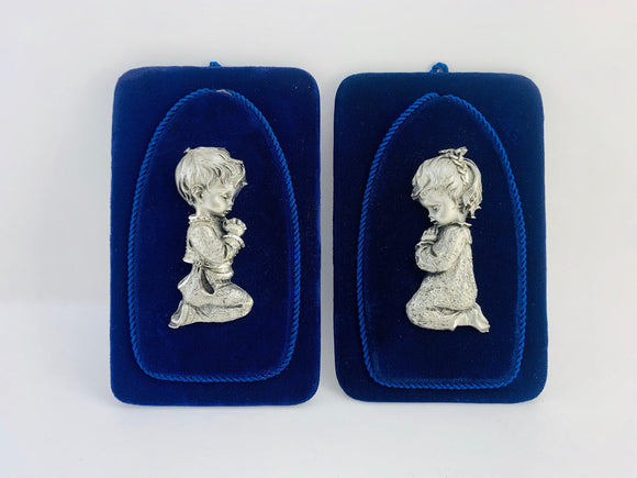 1960's Italian Pewter Praying Boy and Girl on Royal Blue Velvet Wall Hangings