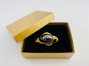 1980's Hematite Ornate Vintage Gold Tone Brooch