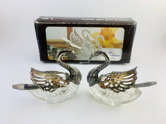 SOLD! 1960's Silver Plated Crystal Swan Pepper and Salt Cellars with Silver Spoons