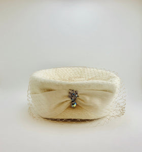 1950's Evelyn Original Flemish White Wool Hat with Veil