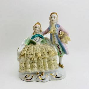1950's Victorian Colonial Couple Lace Porcelain
