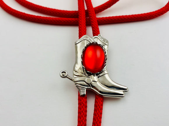 Red Western Bolo Tie with Silver Boots