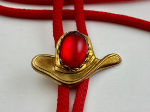 Red Western Bolo Tie with Bronze Hat