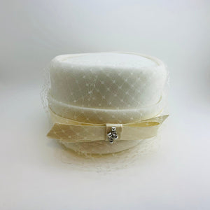 1950's Eaton's White Pillbox Hat with Lace Veil