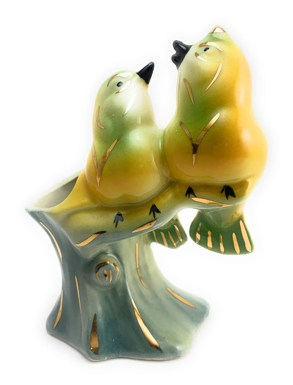 1960's Yellow Lovebirds Bud Vase
