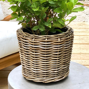 Outdoor Rattan Basket Planter